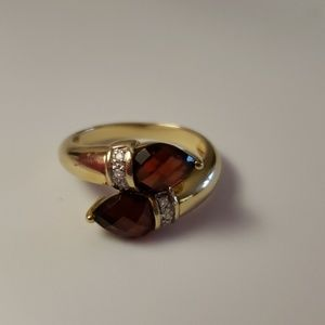 Garnet and Diamond Bypass Ring